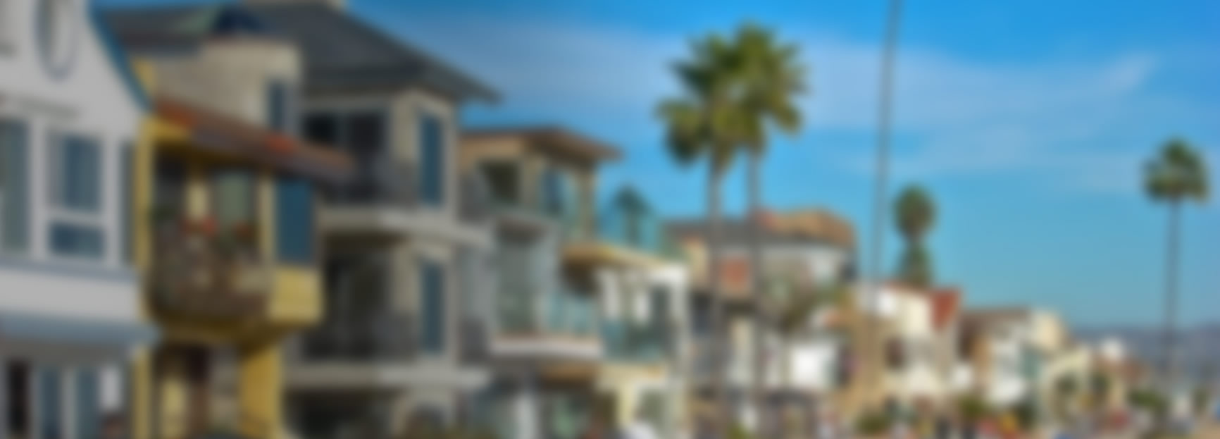 Blurred image of townhomes in a beachfront community